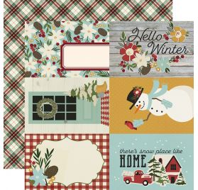 Papier double 30x30 'Simple Stories - Winter Farmhouse' 4x6 Elements