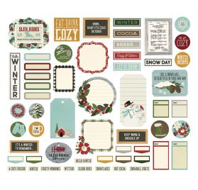 57 Die-cuts 'Simple Stories - Winter Farmhouse' Journal Bits & Pieces