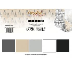 Assortiment de 5 papiers unis 30x30 'Lorelaï Design - Rock Family'