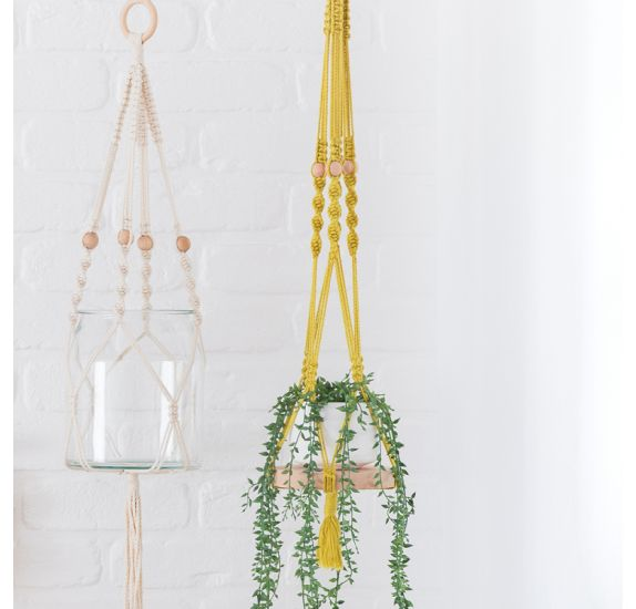 Kit Prêt-à-créer 'Kesi'art - Greenterior' Suspension en macramé moutarde Jungle
