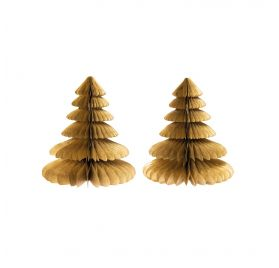 Lot de 2 Sapins en papier nid d'abeille 'Rico Design - Let's Party' Or 20 cm