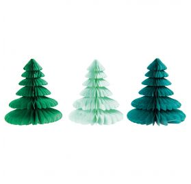 Lot de 2 Sapins en papier nid d'abeille 'Rico Design - Let's Party' Vert Mix 20 cm