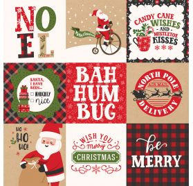Papier double 30x30 ' Echo Park Paper - My Favorite Christmas' 4x4 Journaling Cards