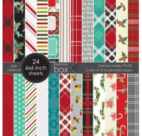 Assortiment  de 24 papiers doubles 15x15 'Memory Box' Dashing Holiday