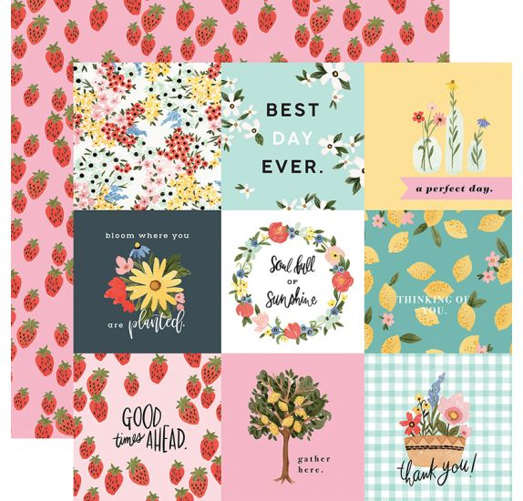 Papier double 30x30 'Carta Bella - Oh Happy Day' 4x4 Journaling Cards