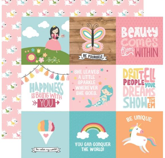 Papier double 30x30 ' Echo Park Paper - All Girl' 4x4 Journaling Cards