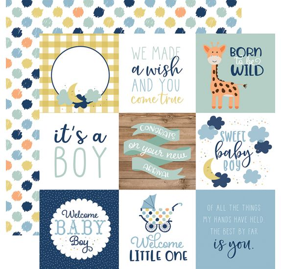 Papier double 30x30 ' Echo Park Paper - Baby Boy' 4x4 Journaling Cards