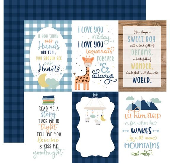 Papier double 30x30 ' Echo Park Paper - Baby Boy' 4x6 Journaling Cards