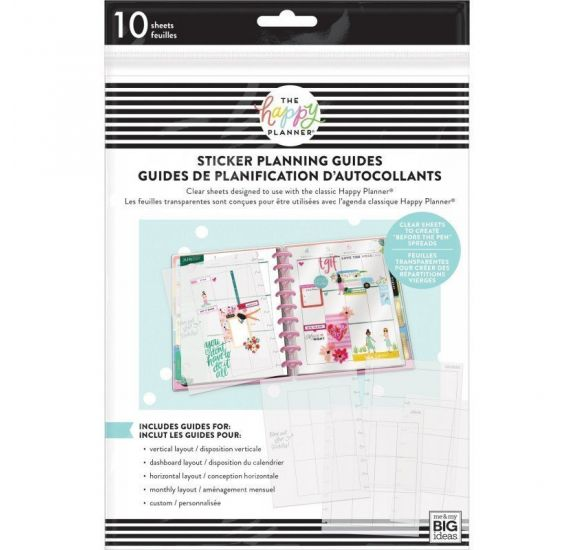 10 Pages guides transparentes pour organiseur moyen 'Me & My Big Ideas - The Happy Planner'
