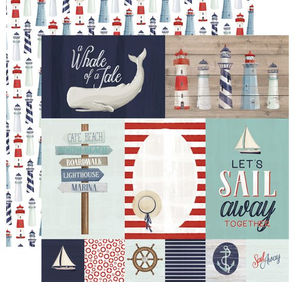 Papier double 30x30 'Carta Bella - By The Sea' Journaling Cards