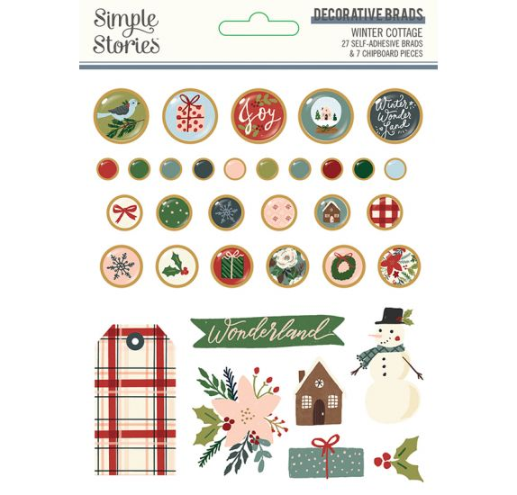 Lot de 34 Pastilles et chipboards adhésifs 'Simple Stories - Winter Cottage'