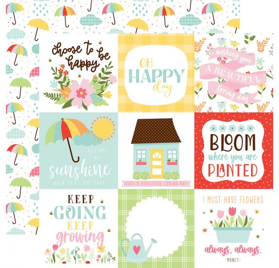 Papier double 30x30 ' Echo Park Paper - Welcome Spring' 4x4 Journaling Cards