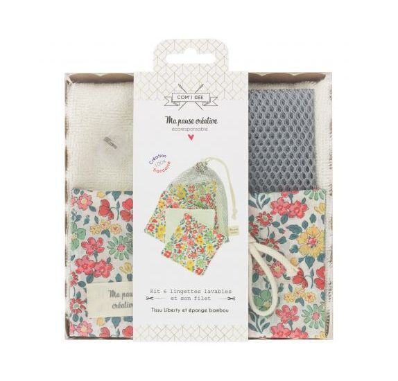 Kit de 6 lingettes lavables avec sac en filet  '3B COM' Liberty