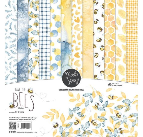 Assortiment de 12 papiers décorés 30x30 'Modascrap' Save The Bees