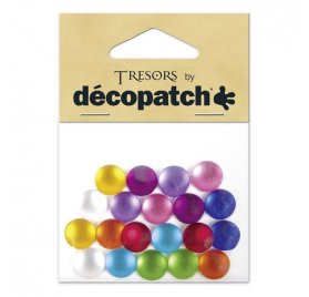 20 cabochons ronds lisses multicolores - Decopatch